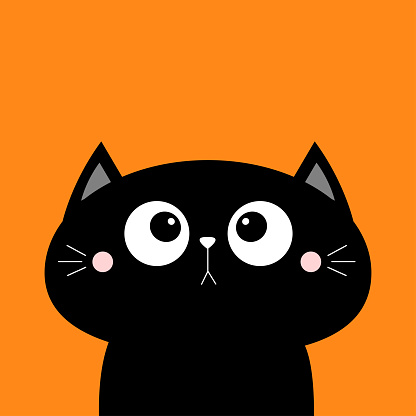 Black cat face head icon. Kawaii animal. Cute cartoon character. Black silhouette. Baby card. Big eyes. Flat design. Notebook cover, tshirt, greeting card, sticker print. Orange background.