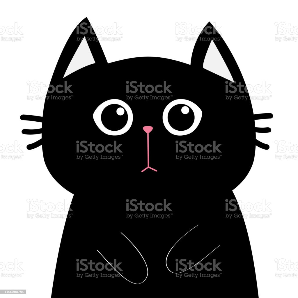 Black Cat Face Head Silhouette Sad Kitty Kitten Cute Cartoon