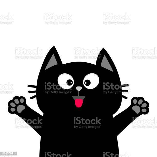 Black cat face head tongue paw print silhouette adopt me cute cartoon vector id884559914?b=1&k=6&m=884559914&s=612x612&h=3lynakxbmoxw7milvg7uglj0aagzuaikin0yutwyqji=