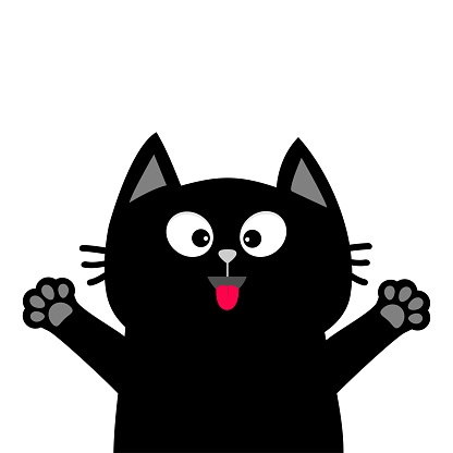 Black Cat Face Head Tongue Paw Print Silhouette Adopt Me