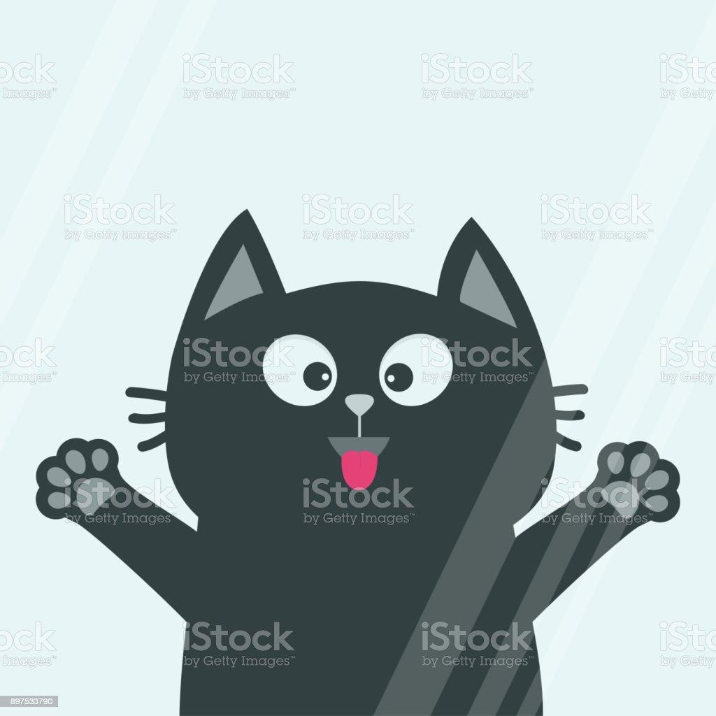 Ilustración de Cabeza De Gato Negro Cara Lengüeta Pata Impresión ...