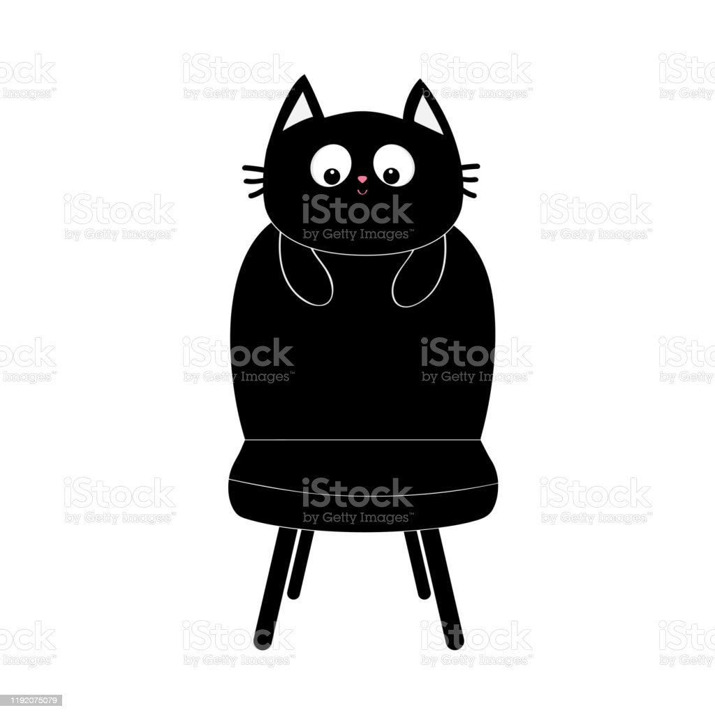 Black Cat Face Silhouette Holding Chair Baby Kitty Kitten Cute
