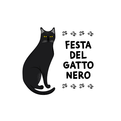 Black Cat Festival. Greeting card for a traditional Italian holiday.