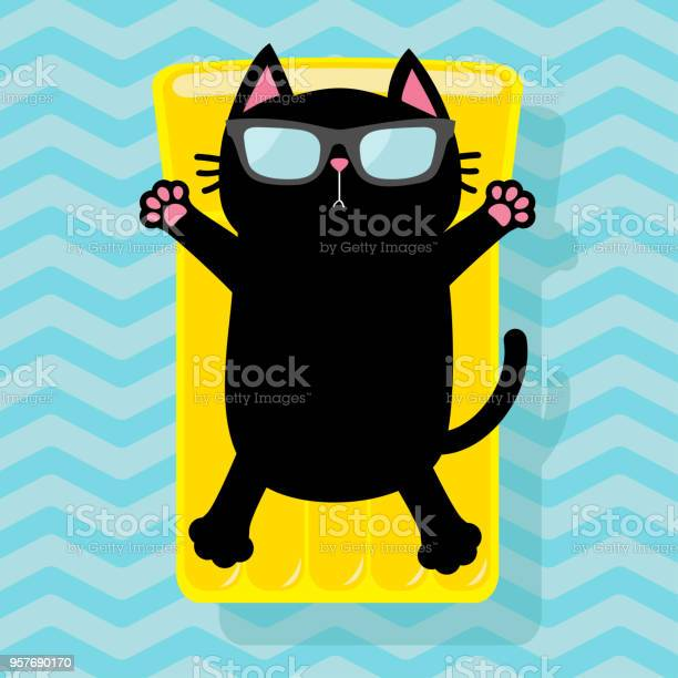 Black cat floating on yellow air pool water mattress cute cartoon vector id957690170?b=1&k=6&m=957690170&s=612x612&h=fjlepfmqklnvqu31dibuqt02ygrvyijs37mcmzyza2e=