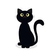 Black kitten on Halloween day isolated on white background, vector