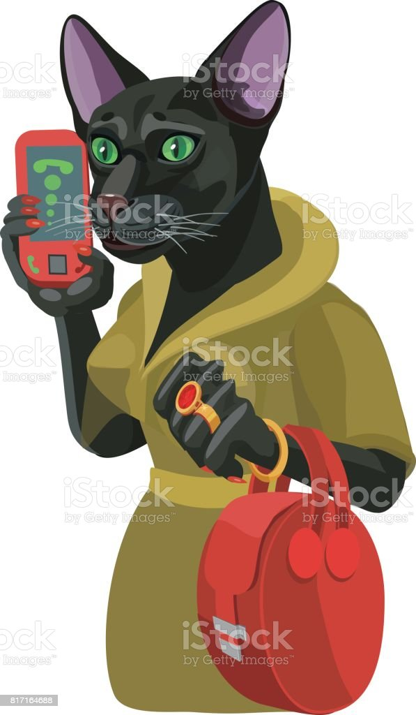 Black cat girl talking on mobile phone vector art illustration