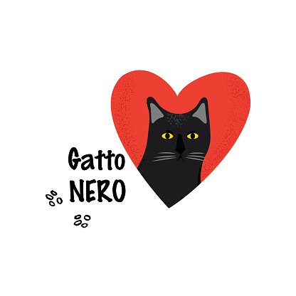 Black Cat. Greeting card for a traditional Italian holiday.