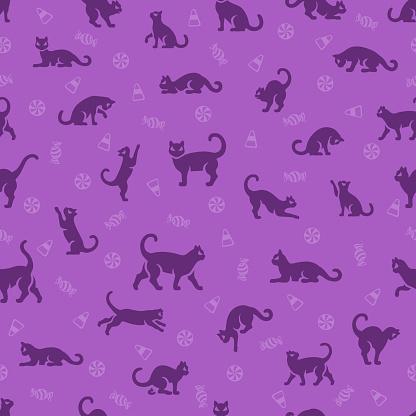 Black Cat Halloween Seamless Pattern