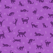 Black Cat Halloween Seamless Pattern