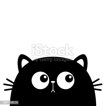 Black cat head face silhouette. Funny Kawaii animal. Big eyes. Baby card. Cute cartoon character. Pet collection. Tshirt note book sticker print. Flat design. White background. Isolated.