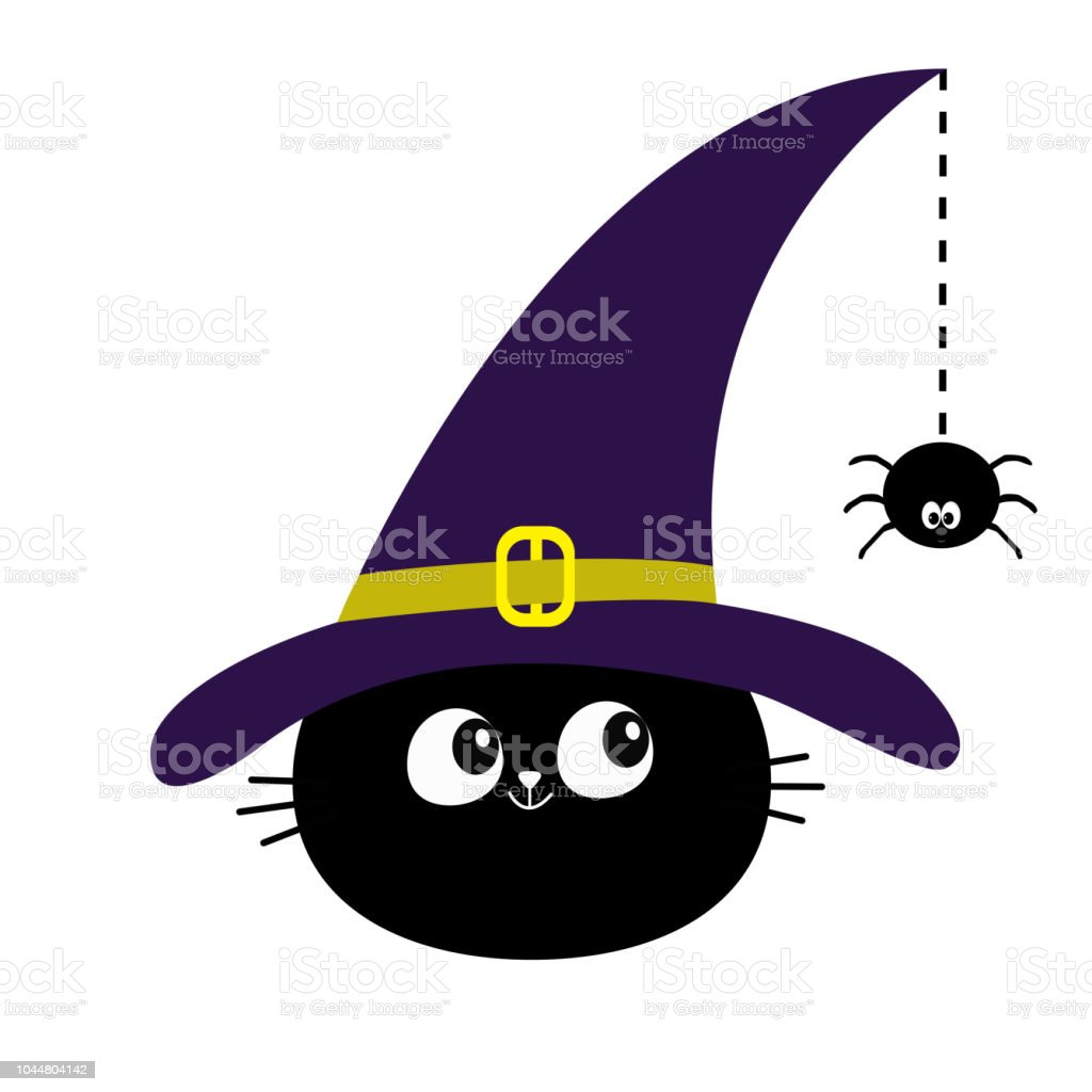 978b047f Black cat head face silhouette looking to hanging on dash line web spider  insect. Witch hat. Happy Halloween. Cute cartoon character Baby pet animal  ...