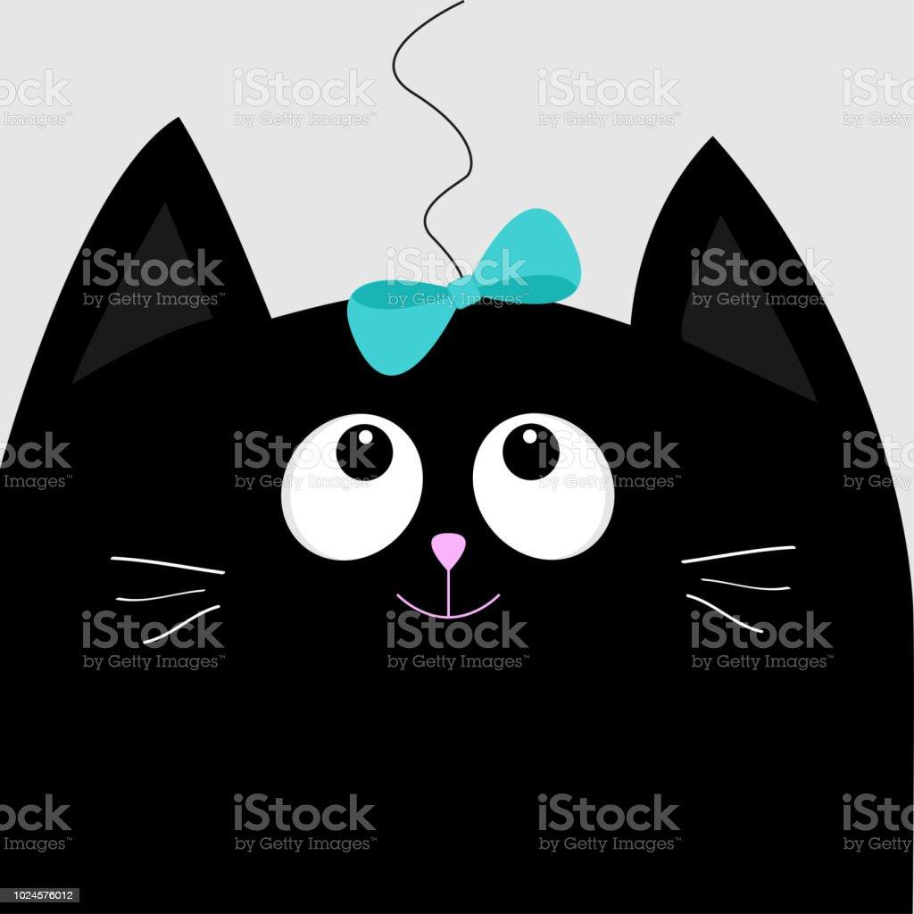 Tete De Chat Noir Regardant Arc Bleu Accroche Sur Le Thread