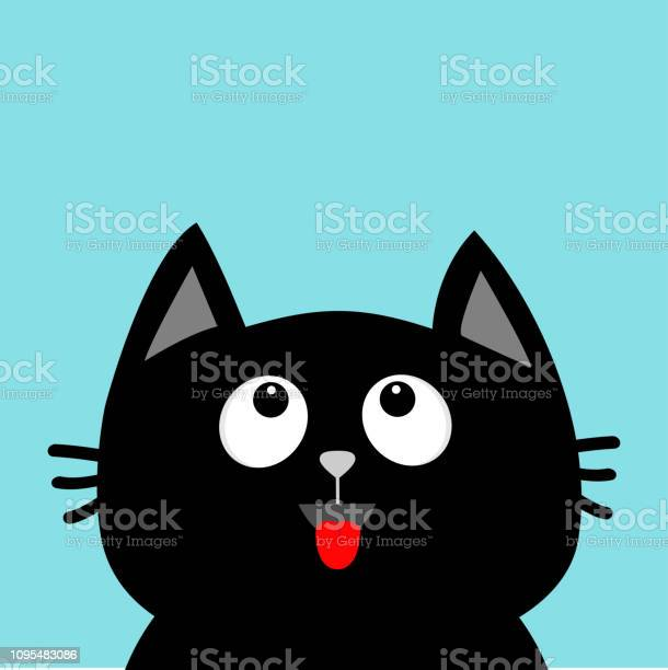 Black cat head looking up red tongue surprised emotion cute cartoon vector id1095483086?b=1&k=6&m=1095483086&s=612x612&h=oueuq11lrdppxv4acxes854dbrtafdtqn25 iumzz6a=
