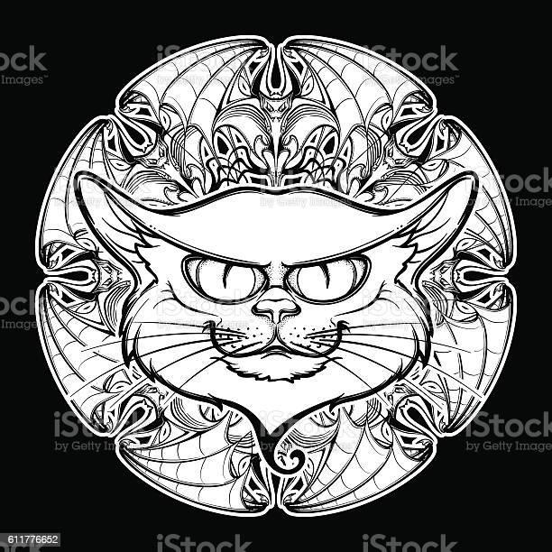 Black cat head on circular bat wings ornament vector id611776652?b=1&k=6&m=611776652&s=612x612&h=me5uwwgcbjmh2fshmt2xtecthf9w c75xipppyc7bmq=