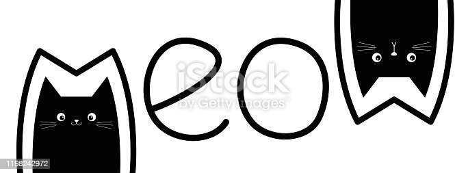istock Black cat head set. Two kittens. Meow lettering contour text. Cute cartoon character silhouette. Kawaii funny baby pet animal icon. Sign Symbol. Flat design. White background. Isolated. 1198242972