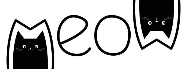 stockillustraties, clipart, cartoons en iconen met zwarte kat hoofd set. twee kittens. meow belettering contour tekst. schattig cartoon karakter silhouet. kawaii grappige baby huisdier dierlijke pictogram. teken symbool. plat ontwerp. witte achtergrond. geïsoleerd. - miauwen