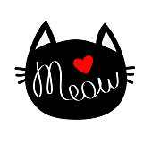 Black cat head silhouette shape. Meow lettering text. Cute cartoon character. Red heart. Love card. Kawaii animal. Baby pet collection. Sign Symbol. Flat White background. Isolated Vector illustration
