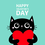 Black cat holding big red heart. Happy Valentines Day. Cute cartoon character. Kitty kitten. Funny Kawaii animal. Baby card. Pet collection. Flat design. Blue background. Vector illustration