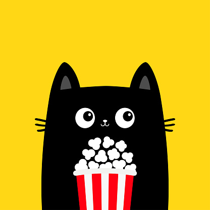 Black cat holding popcorn box. Cute cartoon funny character. Cinema theater. Film show. Kitten watching movie. Kids print for tshirt notebook cover. Yellow background. Isolated. Flat design