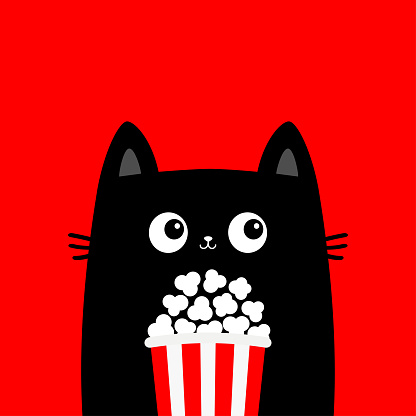 Black cat holding popcorn box. Cute cartoon funny character. Kitten watching movie. Cinema theater. Film show. Kids print for tshirt notebook cover. Red background. Isolated. Flat design