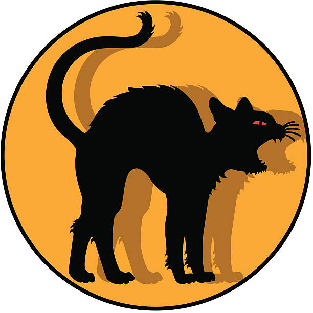 stockillustraties, clipart, cartoons en iconen met black cat icon - miauwen