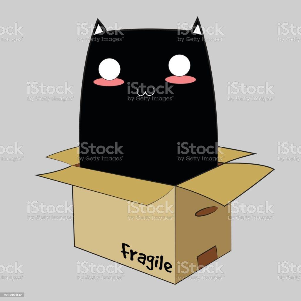 Schwarze Katze in einer Box Lizenzfreies schwarze katze in einer box stock vektor art und mehr bilder von auge