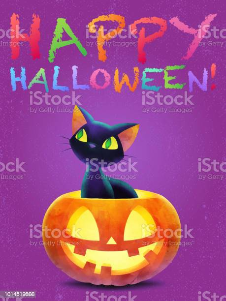 Black cat in a halloween pumpkin happy halloween greeting card vector id1014519866?b=1&k=6&m=1014519866&s=612x612&h=gv82vvucahagdh9mkxxkhptifpazvxegjxbz1yfbibo=