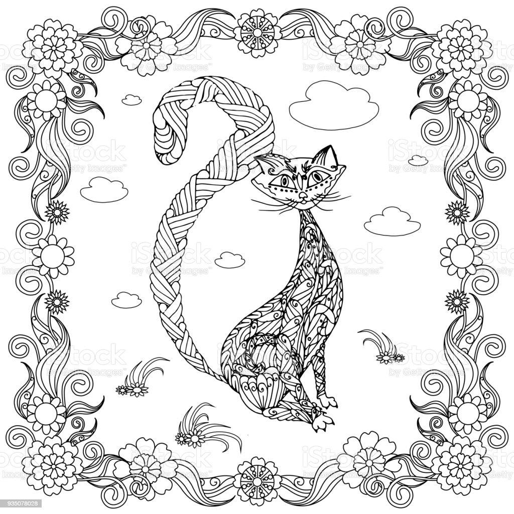 Siyah Kedi Boyama Sayfası Antistress Hisse Senedi Vektör çizim çiçek