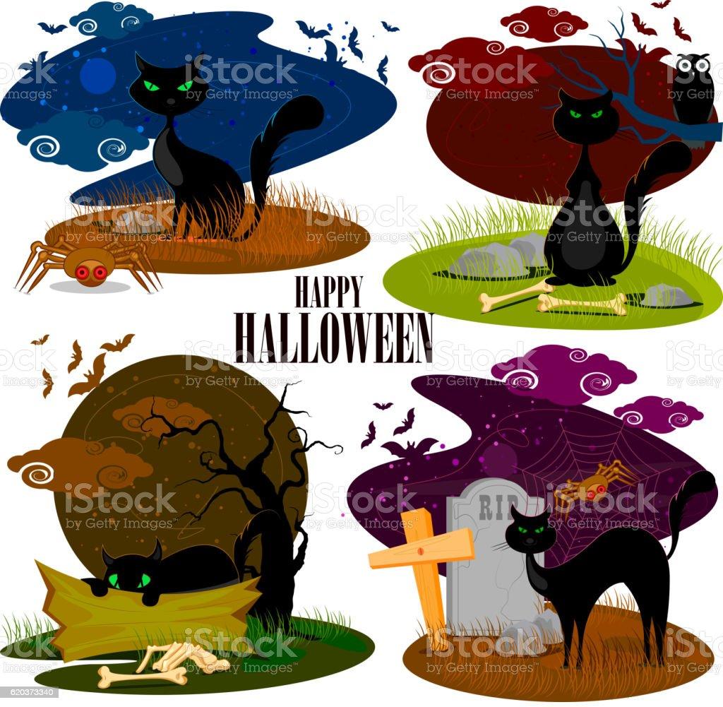 Black cat in Halloween background black cat in halloween background - stockowe grafiki wektorowe i więcej obrazów bez ludzi royalty-free