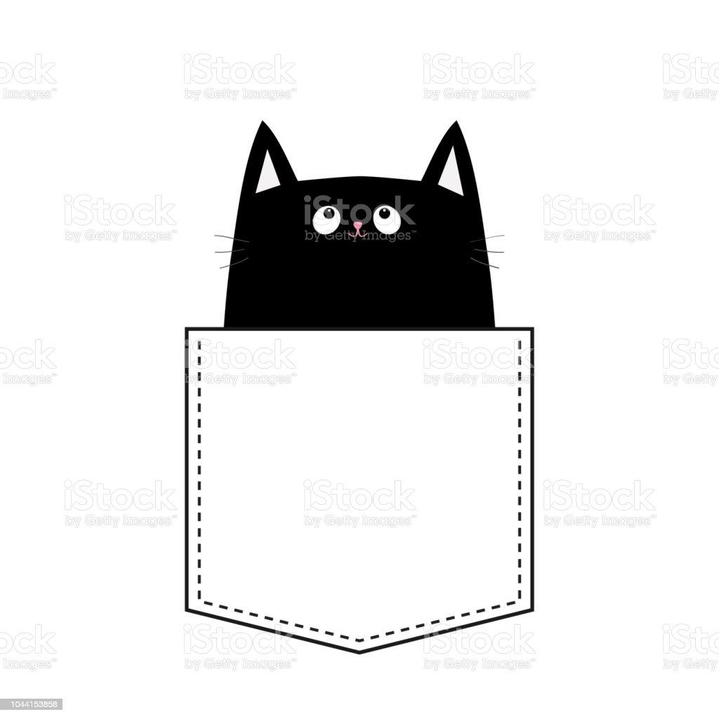 Chat Noir Dans La Poche Animaux De Dessin Animé Mignon