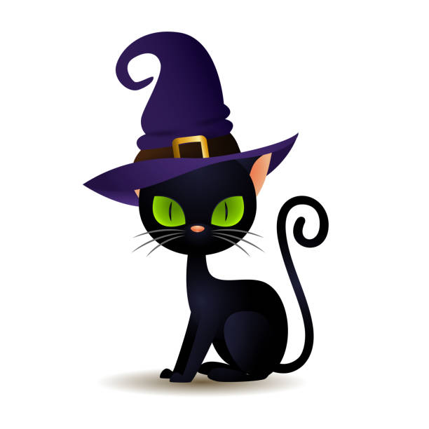 Black cat in witch hat Black cat in witch hat. Scary kitten with big green eyes in wizard headwear. Can be used for topics like animal, Halloween, magic halloween cat stock illustrations