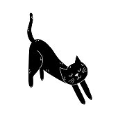 Black cat is stretching isolated element. Cute feline character in cartoon style. Great for t-shirts, mugs. Vector illustration