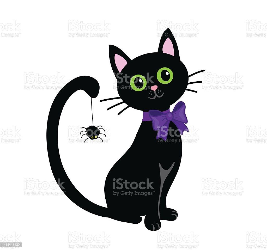 Black cat isolated on white background.Halloween vector art illustration