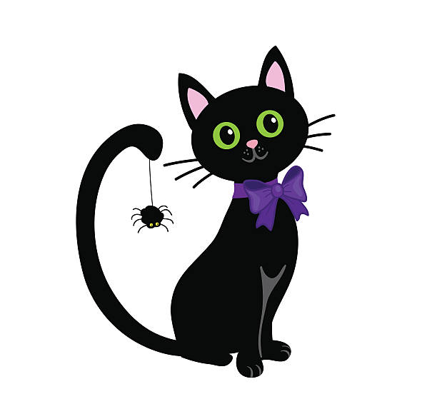 Black cat isolated on white background.Halloween Cute Black cat isolated on white background.Halloween halloween cat stock illustrations