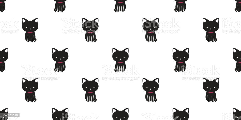 Black Cat Kitten Cartoon Icon Doodle Vector Seamless Pattern Wallpaper Background Stock Illustration Download Image Now Istock