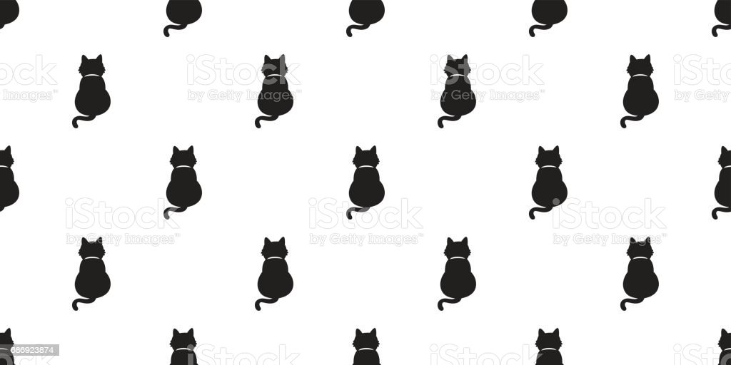 Black Cat Kitten Cat Tail Full Seamless Pattern Wallpaper Background Stock Illustration Download Image Now Istock