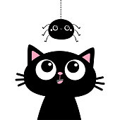 Black cat kitten face head silhouette looking up to hanging spider. Cute cartoon funny character. Kawaii baby animal. Pet sticker. Flat design. Scandinavian style. White background Vector illustration