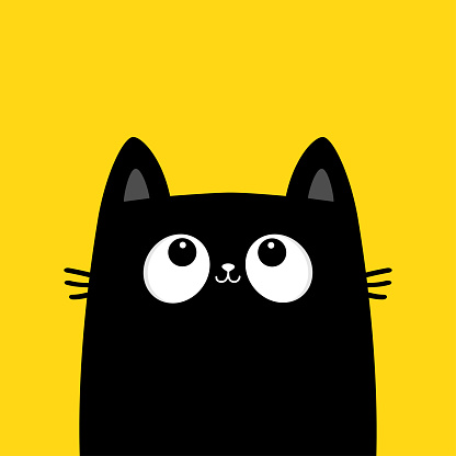 Black cat kitten head face silhouette looking up. Kawaii animal. Cute cartoon baby character. Notebook sticker print template. Pet collection. Flat design. Yellow background. Isolated.