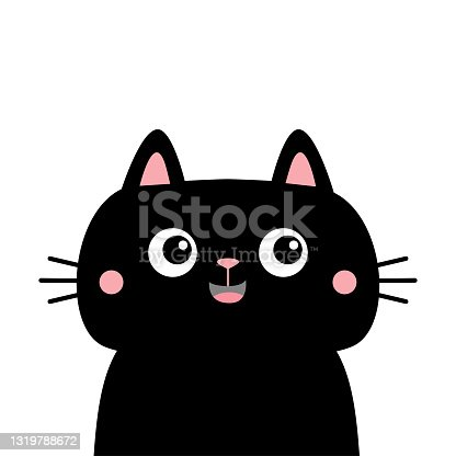 Black cat kitten kitty silhouette icon. Cute kawaii cartoon character. Happy face. Pink cheeks. Happy Valentines Day. Baby greeting card tshirt notebook cover print. White background. Flat design.