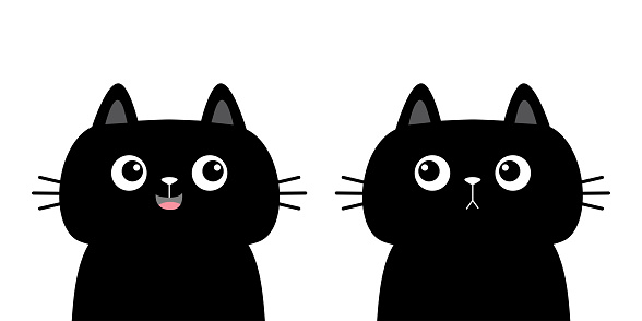 Black cat kitten kitty silhouette icon set. Cute kawaii cartoon character. Sad happy face. Happy Valentines Day. Baby greeting card tshirt notebook cover print. White background. Flat design.