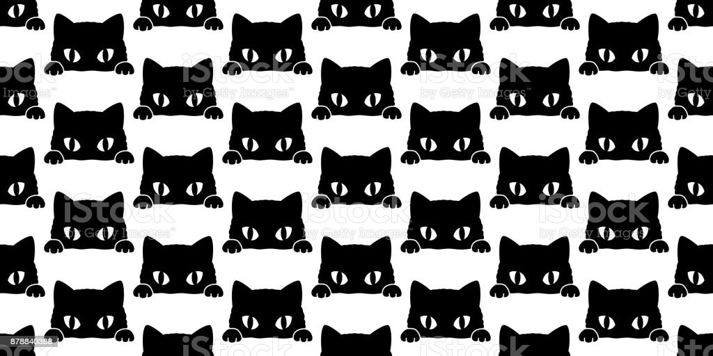 Schwarze Katze Kätzchen Vektor Doodle Cartoon Musterdesign Wallpaper ...