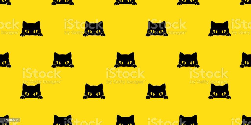 黒猫子猫ベクトル図のシームレスなパターン背景の壁紙 ベクターアートイラスト