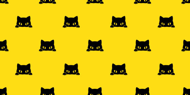 black cat kitten vector illustration seamless pattern background wallpaper background - cat stock illustrations, clip art, cartoons, & icons