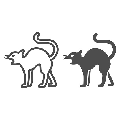 Black cat line and solid icon, Halloween concept, magic animal sign on white background, Cat silhouette icon in outline style for mobile concept and web design. Vector graphics.