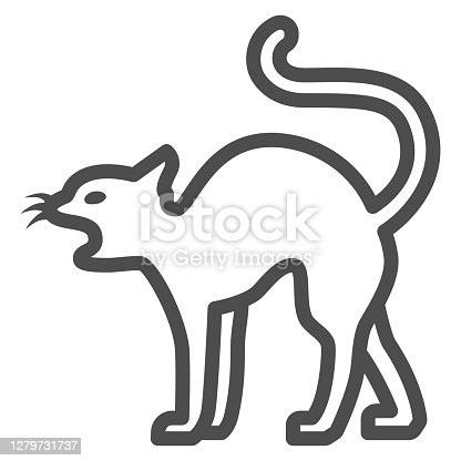 istock Black cat line icon, Halloween concept, magic animal sign on white background, Cat silhouette icon in outline style for mobile concept and web design. Vector graphics. 1279731737