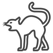 Black cat line icon, Halloween concept, magic animal sign on white background, Cat silhouette icon in outline style for mobile concept and web design. Vector graphics