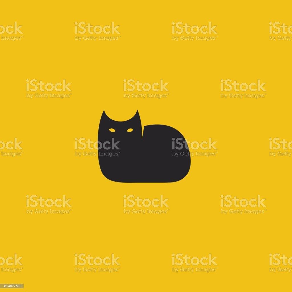 黒猫のロゴのテンプレート。ベクトルの図。 ベクターアートイラスト