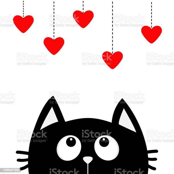 Black cat looking up to hanging red hearts dash line heart set cute vector id1089637952?b=1&k=6&m=1089637952&s=612x612&h=3snddy9lktc0kidwdj18idrqyvopvatqt9aq ijjou4=