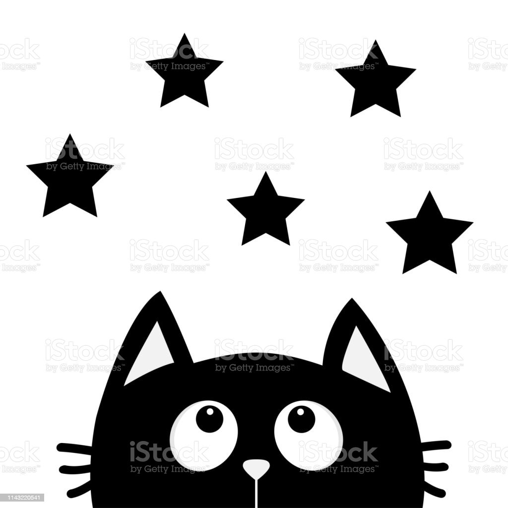 Black Cat Looking Up To Star Shape I Love Cats Cute Cartoon Funny Character Kawaii Animal Love Greeting Card Flat Design Style White Background Isolated Stock Illustration Download Image Now Istock
