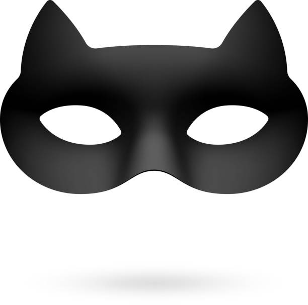Black cat masquerade eye mask Vector illustration with transparent effect, eps 10. halloween cat stock illustrations